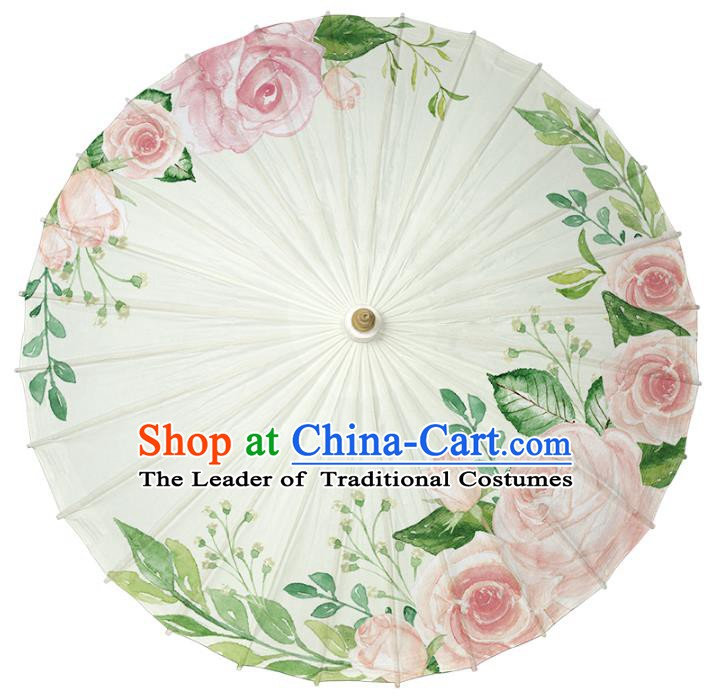 Chinese Traditional Artware Paper Umbrella Classical Dance Umbrella Printing Pink Rose Oil-paper Umbrella Handmade Umbrella