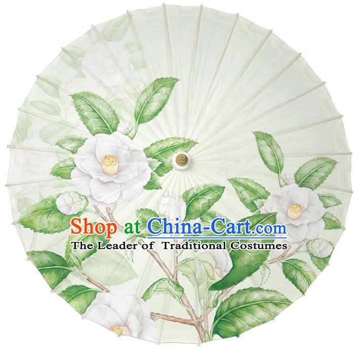 Chinese Traditional Artware Paper Umbrella Classical Dance Umbrella Printing White Camellia Oil-paper Umbrella Handmade Umbrella