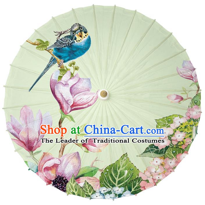 Chinese Traditional Artware Paper Umbrella Classical Dance Umbrella Printing Red Mangnolia Oil-paper Umbrella Handmade Umbrella