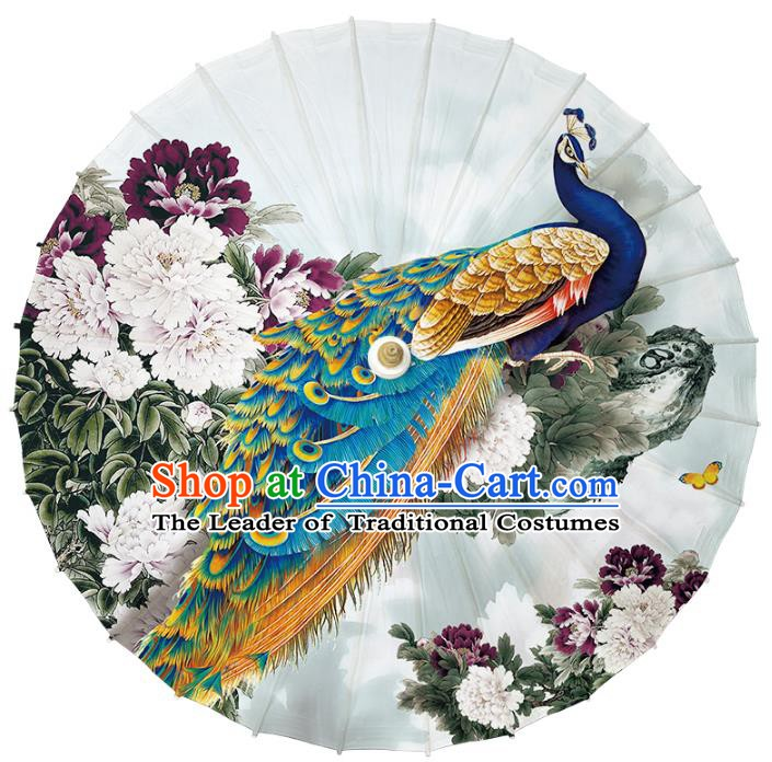 Chinese Traditional Artware Paper Umbrella Classical Dance Umbrella Printing Peacock Peony Oil-paper Umbrella Handmade Umbrella