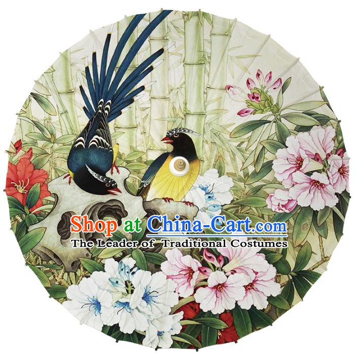Chinese Traditional Artware Paper Umbrella Classical Dance Umbrella Printing Flowers Birds Oil-paper Umbrella Handmade Umbrella