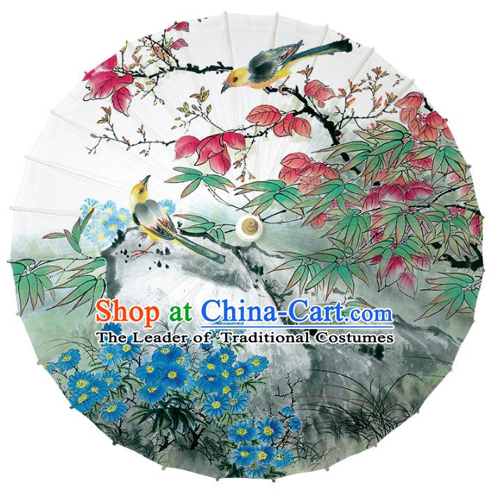 Chinese Traditional Artware Paper Umbrella Classical Dance Umbrella Printing Blue Flowers Oil-paper Umbrella Handmade Umbrella