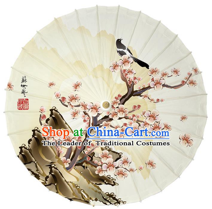 Chinese Traditional Artware Paper Umbrella Classical Dance Umbrella Printing Wintersweet Magpie Oil-paper Umbrella Handmade Umbrella