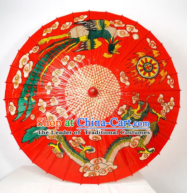Chinese Traditional Artware Wedding Paper Umbrella Classical Dance Umbrella Printing Dragon and Phoenix Oil-paper Umbrella Handmade Umbrella