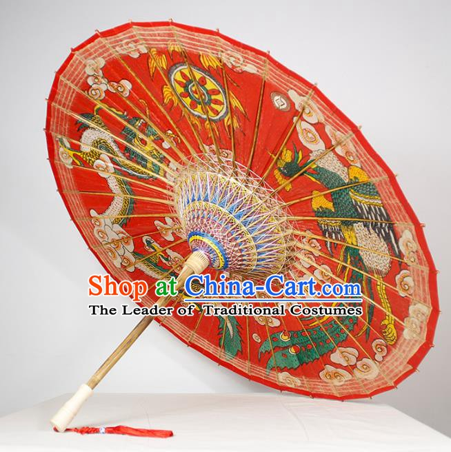 Chinese Traditional Artware Wedding Red Paper Umbrella Printing Dragon and Phoenix Oil-paper Umbrella Handmade Umbrella