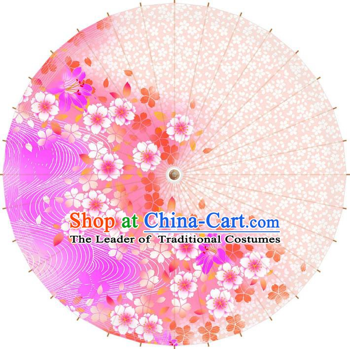 Chinese Traditional Artware Paper Umbrella Printing Cherry Blossom Oil-paper Umbrella Handmade Umbrella