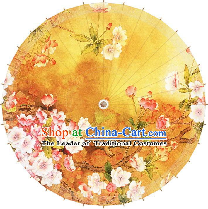 Chinese Traditional Artware Paper Umbrella Printing Begonia Flowers Oil-paper Umbrella Handmade Umbrella