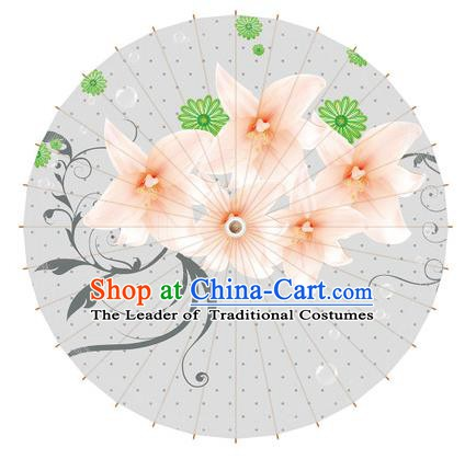 Chinese Traditional Artware Paper Umbrella Printing Magnolia Flowers Oil-paper Umbrella Handmade Umbrella