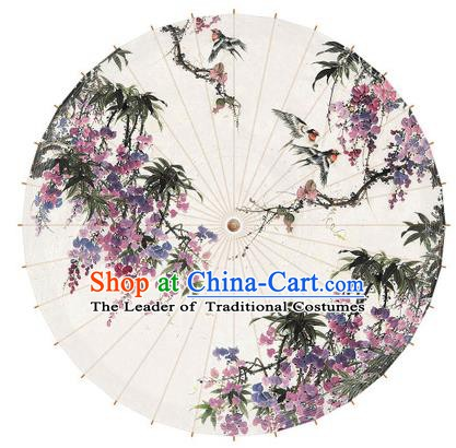 Chinese Traditional Artware Paper Umbrella Printing Wisteria Oil-paper Umbrella Handmade Umbrella