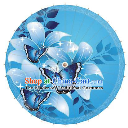 Chinese Traditional Artware Paper Umbrella Printing Butterfly Blue Oil-paper Umbrella Handmade Umbrella