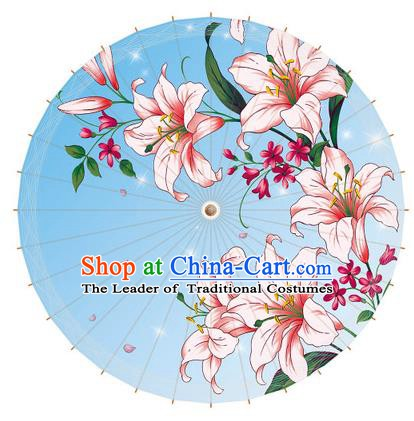 Chinese Traditional Artware Paper Umbrella Printing Greenish Lily Flower Blue Oil-paper Umbrella Handmade Umbrella