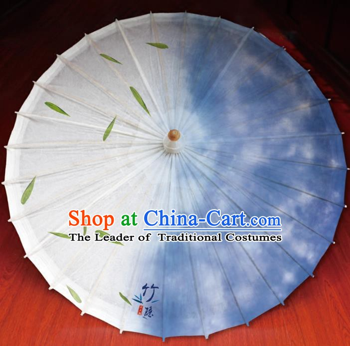 Chinese Traditional Artware Paper Umbrella Printing Bamboo Leaf Blue Oil-paper Umbrella Handmade Umbrella