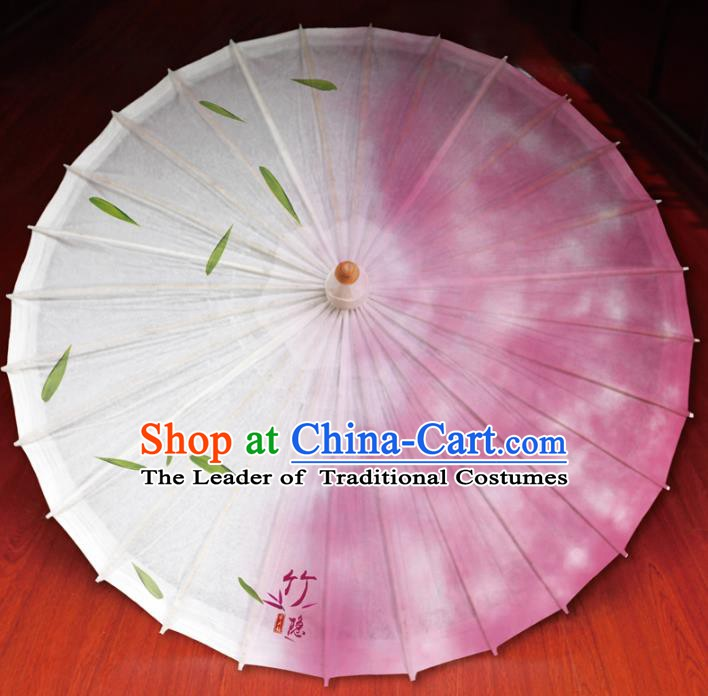 Chinese Traditional Artware Paper Umbrella Printing Bamboo Leaf Pink Oil-paper Umbrella Handmade Umbrella