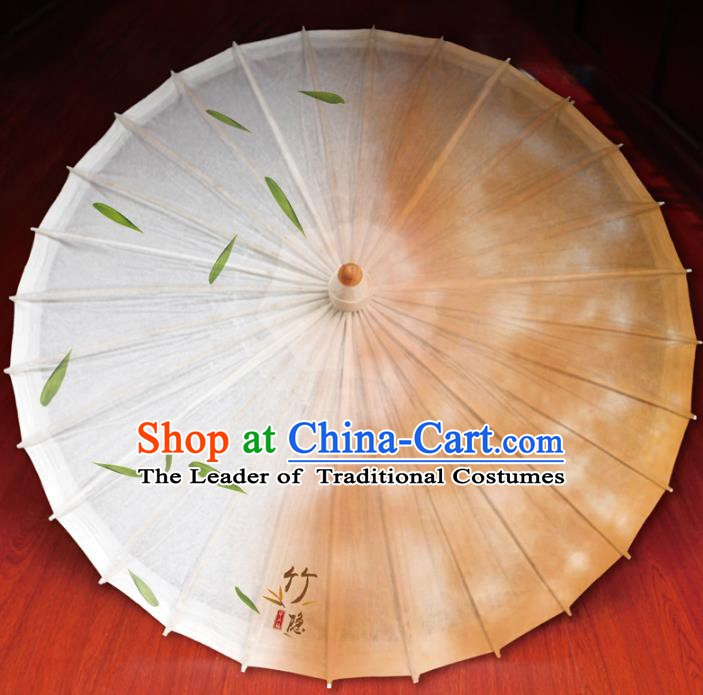 Chinese Traditional Artware Paper Umbrella Printing Bamboo Leaf Orange Oil-paper Umbrella Handmade Umbrella