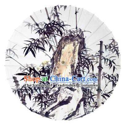 Chinese Traditional Artware Paper Umbrella Ink Painting Bamboo Stone Oil-paper Umbrella Handmade Umbrella