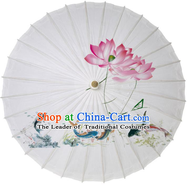 Chinese Traditional Artware Paper Umbrella Classical Dance Umbrella Printing Lotus Fish Oil-paper Umbrella Handmade Umbrella