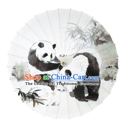 Chinese Traditional Artware Paper Umbrella Ink Wash Painting Panda Bamboo Oil-paper Umbrella Handmade Umbrella