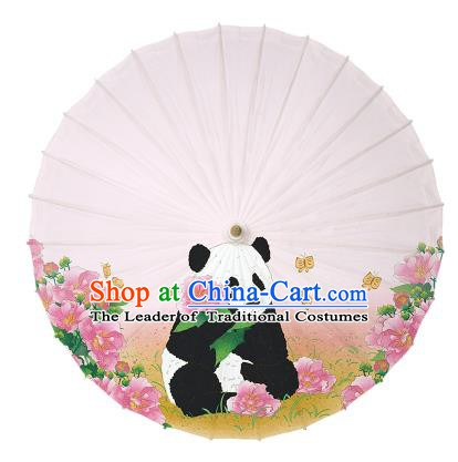 Chinese Traditional Artware Paper Umbrellas Ink Wash Painting Panda Peony Oil-paper Umbrella Handmade Umbrella