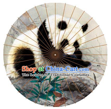 Chinese Traditional Artware Paper Umbrellas Painting Panda Oil-paper Umbrella Handmade Umbrella