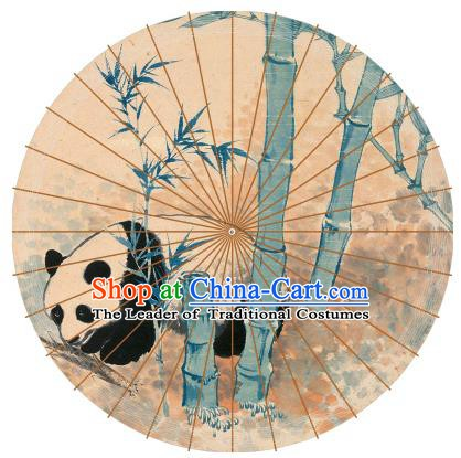Chinese Traditional Artware Paper Umbrellas Printing Pandas Bamboo Oil-paper Umbrella Handmade Umbrella