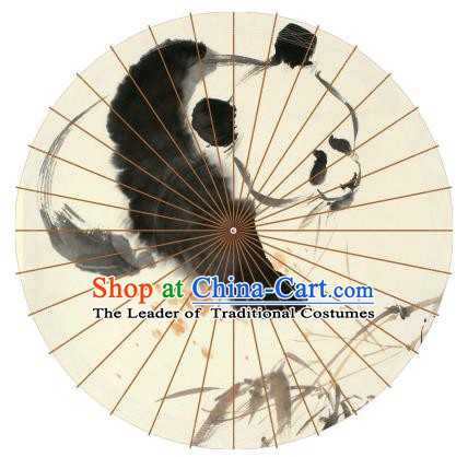 Chinese Traditional Artware Paper Umbrellas Ink Painting Pandas Oil-paper Umbrella Handmade Umbrella