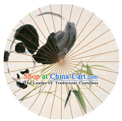 Chinese Traditional Artware Paper Umbrellas Chinese Ink Painting Pandas Bamboo Oil-paper Umbrella Handmade Umbrella
