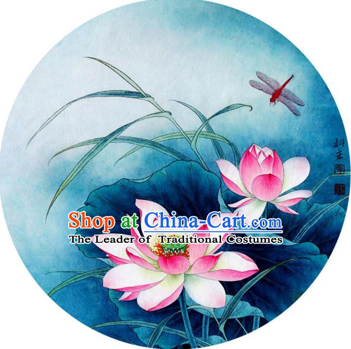 Chinese Traditional Artware Paper Umbrellas Printing Lotus Blue Oil-paper Umbrella Handmade Umbrella