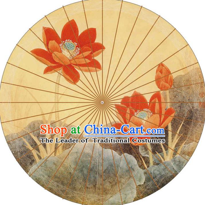 Chinese Traditional Artware Paper Umbrellas Printing Lotus Yellow Oil-paper Umbrella Handmade Umbrella