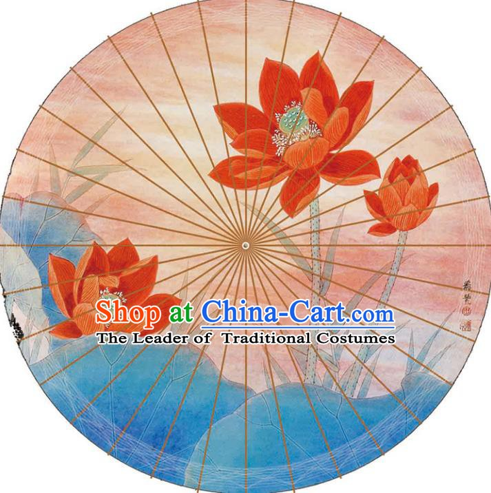 Chinese Traditional Artware Paper Umbrellas Printing Lotus Pink Oil-paper Umbrella Handmade Umbrella