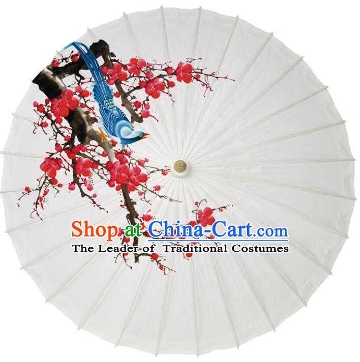 Chinese Traditional Artware Paper Umbrellas Printing Plum Blossom Magpie Oil-paper Umbrella Handmade Umbrella