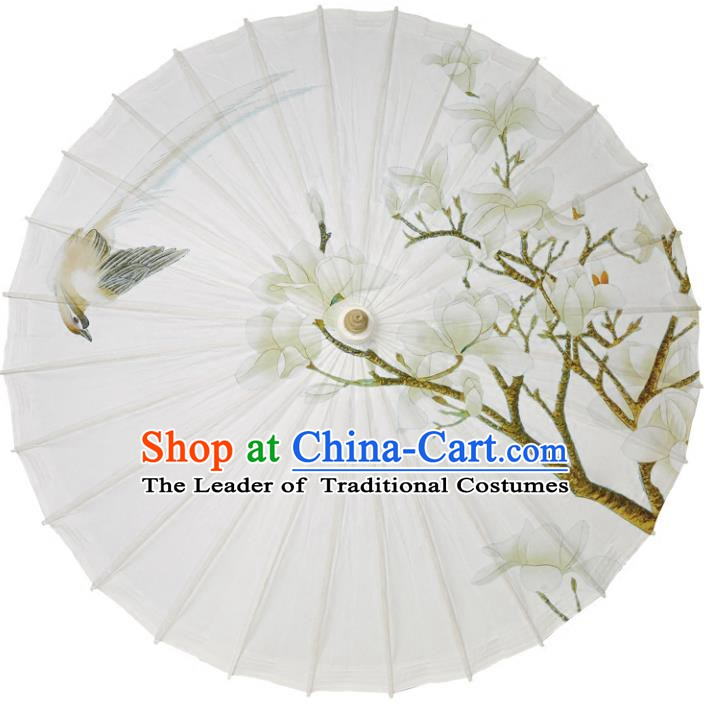 Chinese Traditional Artware Paper Umbrellas Printing Mangnolia Magpie Oil-paper Umbrella Handmade Umbrella