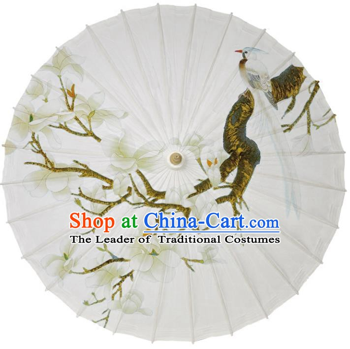 Chinese Traditional Artware Paper Umbrellas Printing White Mangnolia Magpie Oil-paper Umbrella Handmade Umbrella