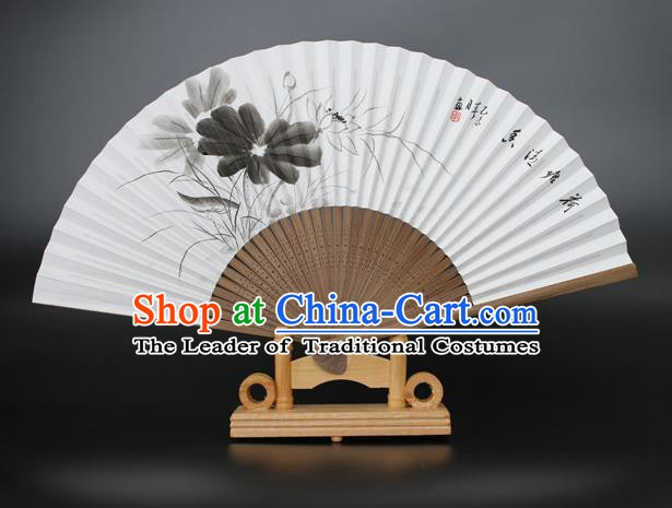 Chinese Traditional Artware Handmade Folding Fans Ink Painting Lotus Paper Fans