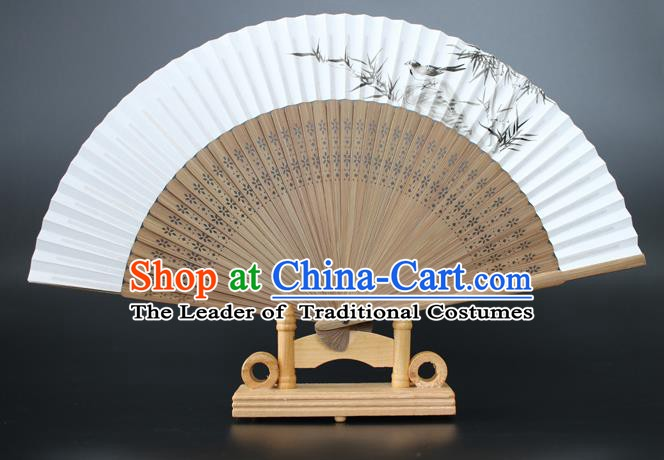 Chinese Traditional Artware Handmade Sandalwood Folding Fans Ink Painting Bamboo Paper Fans