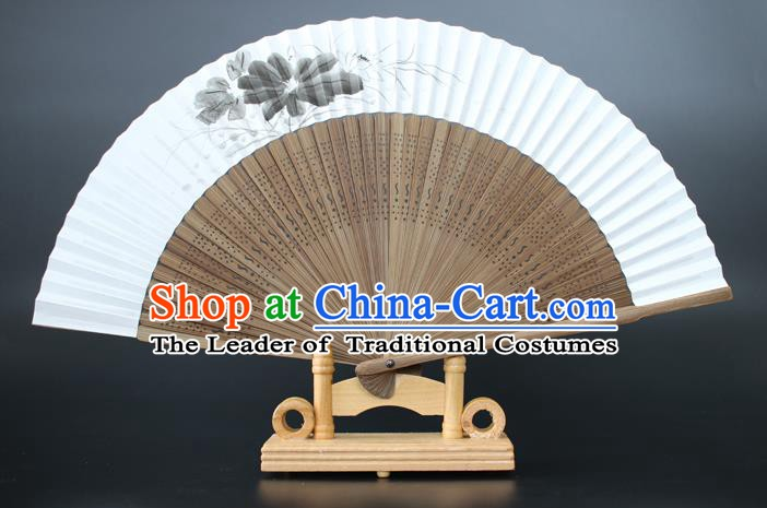 Chinese Traditional Artware Handmade Sandalwood Folding Fans Ink Painting Lotus Paper Fans