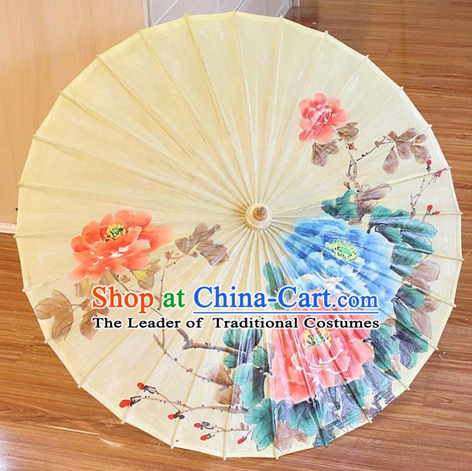 Chinese Traditional Artware Paper Umbrellas Printing Peony Flowers Oil-paper Umbrella Handmade Umbrella
