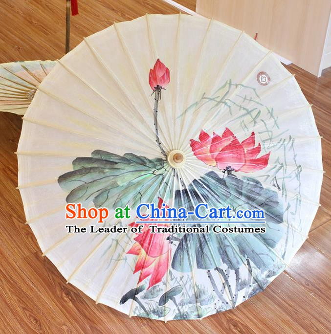 Chinese Traditional Artware Paper Umbrellas Printing Lotus Flowers Oil-paper Umbrella Handmade Umbrella