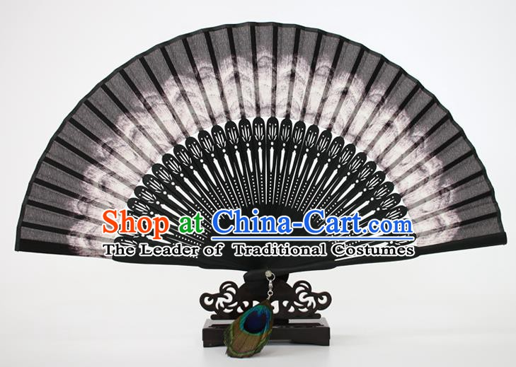 Chinese Traditional Artware Handmade Folding Fans Black Silk Accordion Fans
