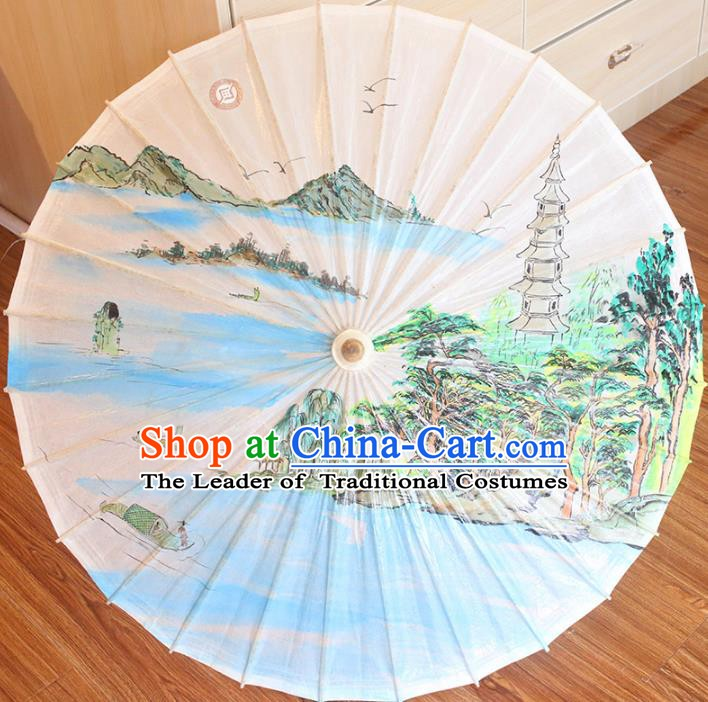 Chinese Traditional Artware Dance Umbrella Printing Pagoda Paper Umbrellas Oil-paper Umbrella Handmade Umbrella