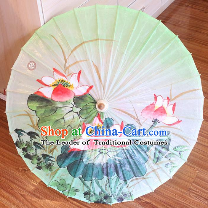 Chinese Traditional Artware Dance Umbrella Printing Lotus Green Paper Umbrellas Oil-paper Umbrella Handmade Umbrella