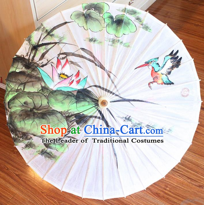 Chinese Traditional Artware Dance Umbrella Printing Lotus White Paper Umbrellas Oil-paper Umbrella Handmade Umbrella