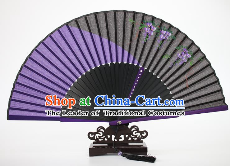 Chinese Traditional Artware Handmade Folding Fans Purple Silk Fans Printing Flowers Accordion