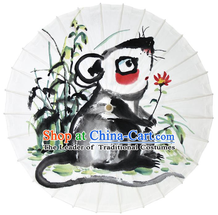Chinese Traditional Artware Dance Umbrella Ink Painting Zodiac Rat Paper Umbrellas Oil-paper Umbrella Handmade Umbrella