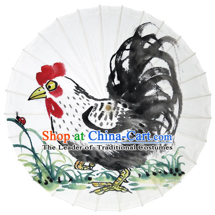 Chinese Traditional Artware Dance Umbrella Ink Painting Rooster Paper Umbrellas Oil-paper Umbrella Handmade Umbrella