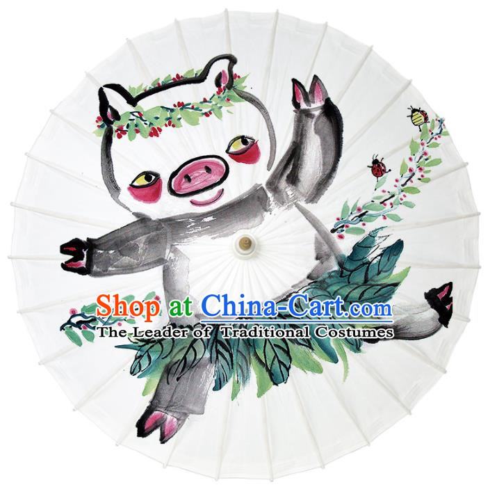 Chinese Traditional Artware Dance Umbrella Ink Painting Pig Paper Umbrellas Oil-paper Umbrella Handmade Umbrella