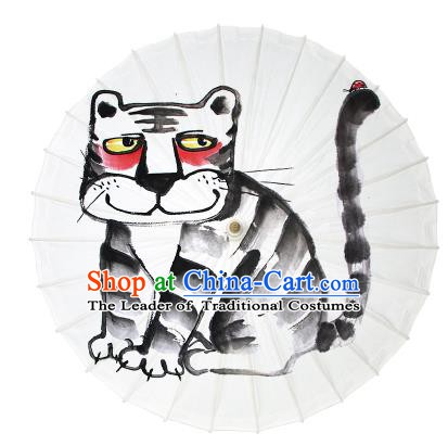 Chinese Traditional Artware Dance Umbrella Ink Painting Tiger Paper Umbrellas Oil-paper Umbrella Handmade Umbrella