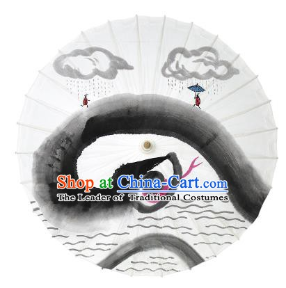 Chinese Traditional Artware Dance Umbrella Ink Painting Snake Paper Umbrellas Oil-paper Umbrella Handmade Umbrella