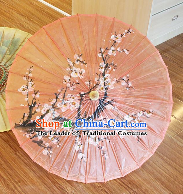 Chinese Traditional Artware Dance Umbrella Hand Painting Plum Blossom Paper Umbrellas Oil-paper Umbrella Handmade Umbrella