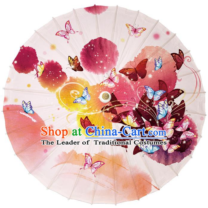 Chinese Traditional Artware Dance Umbrella Printing Butterflies Paper Umbrellas Oil-paper Umbrella Handmade Umbrella