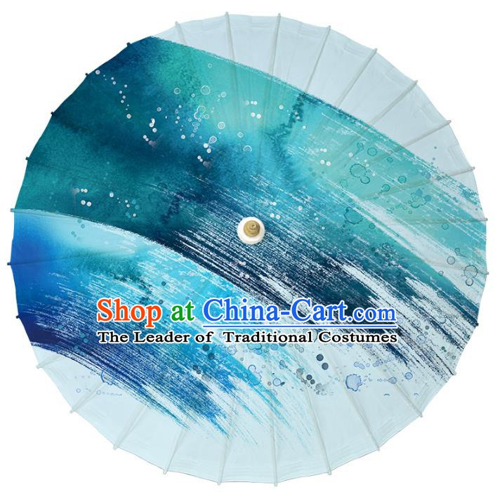 Chinese Traditional Artware Dance Umbrella Printing Blue Paper Umbrellas Oil-paper Umbrella Handmade Umbrella